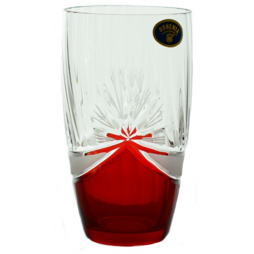 Crystal Set Crystal Glass 6x, color crystal glass - unleaded, red decor, volume 350 ml