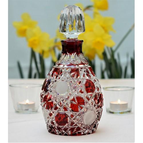 Crystal bottle Flake, color ruby, volume 700 ml