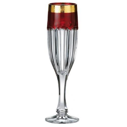 Crystal set wine glass Safari Gold ruby, unleaded crystalite, volume 150 ml