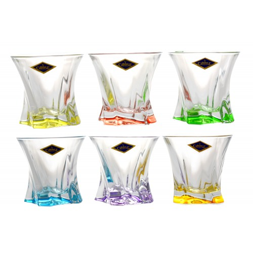 Crystal set glass Cooper 6x, unleaded crystalite, color mix, volume 320 ml