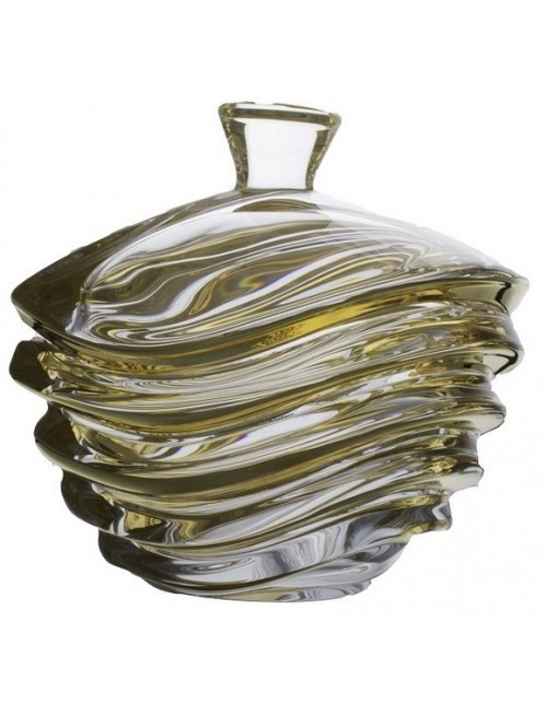 Crystal box Wave Gold, unleaded crystalite, height 220 mm