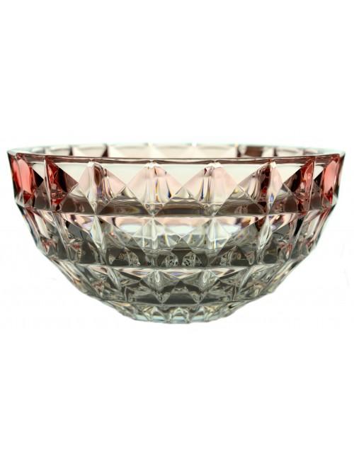 Crystal Bowl Diamond, unleaded crystalite, color pink, diameter 280 mm