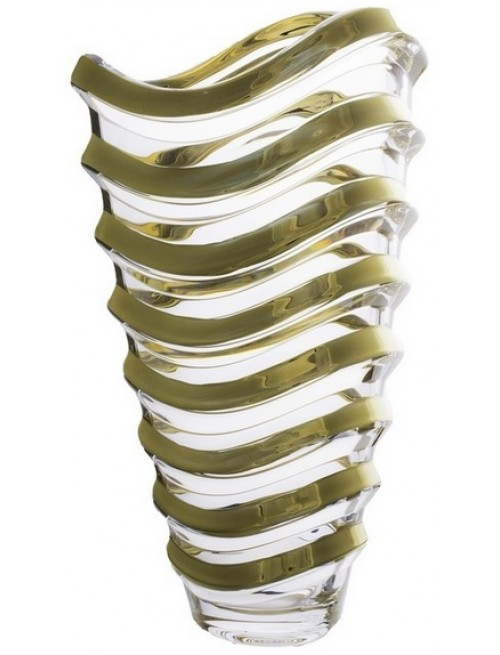 Crystal Vase Wave gold, unleaded crystalite, height 340 mm
