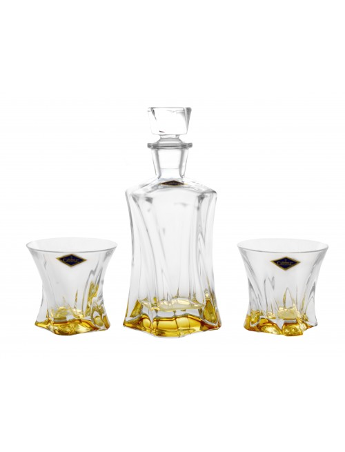 Crystal set of Whisky Cooper amber 1+2, unleaded crystalite