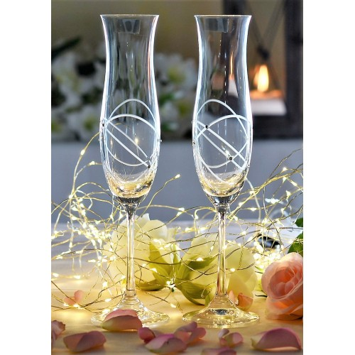 Crystal Set Crystal Wine Glass Ellen 2x, crystal glass - unleaded, decorated, volume 200 ml
