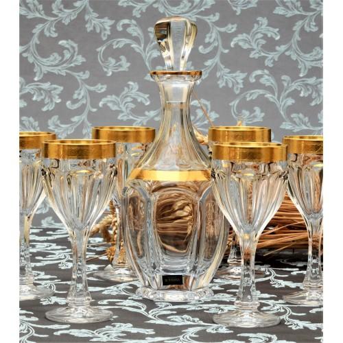 Crystal set wine glass Safari Gold ruby 6x, unleaded crystalite, volume 190 ml