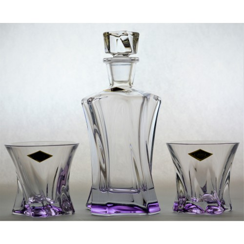 Crystal set of Whisky Cooper violet 1+2, unleaded crystalite