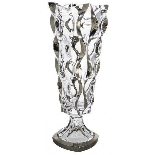 Crystal Vase Samba platinum, unleaded crystalite, height 405 mm