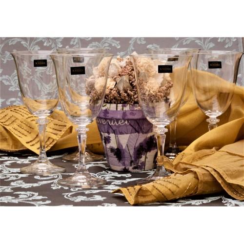 Crystal set wine glass Branta 6x, unleaded crystalite, volume 360 ml