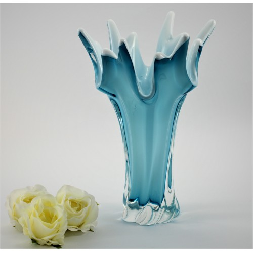Blown Glass Vase, color azure, height 320 mm
