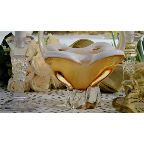 Blown glass basket, color amber, height 340 mm