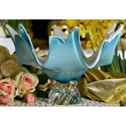 Blown glass bowl, color azure, diameter 380 mm