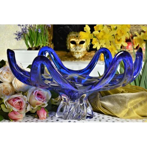 Blown glass bowl, color blue, diameter 400 mm