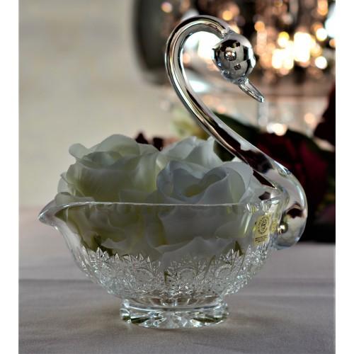 Crystal swan 500PK, color clear crystal, diameter 140 mm