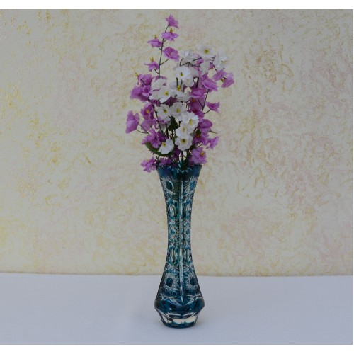 Crystal Vase Petra, color azure, height 205 mm