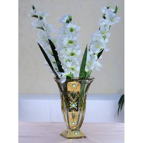 Crystal Vase Gold, unleaded crystalite, height 360 mm