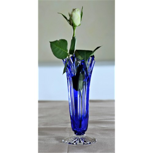 Crystal Vase Lotos, color blue, height 175 mm