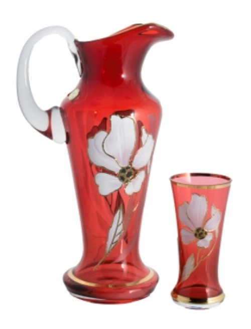 Set Flower 1+6, color ruby