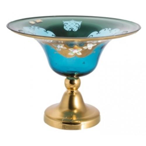 Footed bowl High Enamel II, color azure, diameter 330 mm