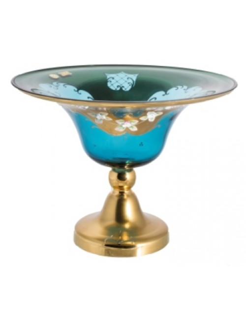 Footed bowl High Enamel II, color azure, diameter 330 mm