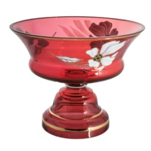 Footed bowl Flower, color ruby, diameter 290 mm