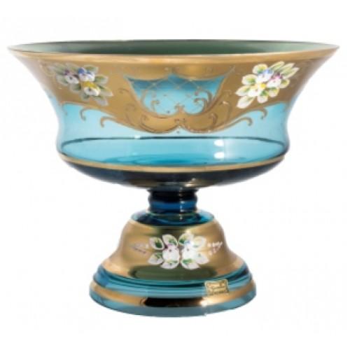 Footed bowl High Enamel, color azure, diameter 260 mm