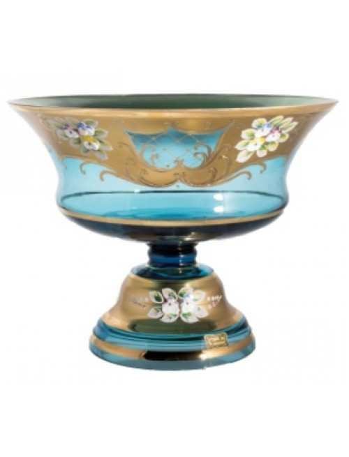 Footed bowl High Enamel, color azure, diameter 260 mm