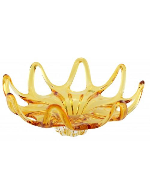 Blown glass bowl, color amber, diameter 370 mm