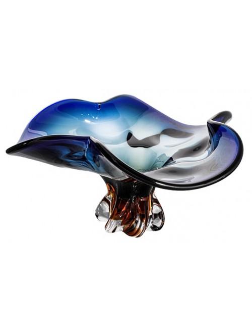 Blown glass bowl, color blue - amber, diameter 400 mm