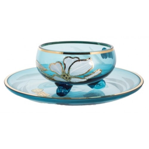 Tea set Flower 6+6, color azure