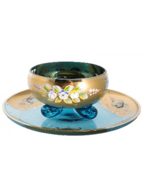 Tea set High Enamel 6+6, color azure