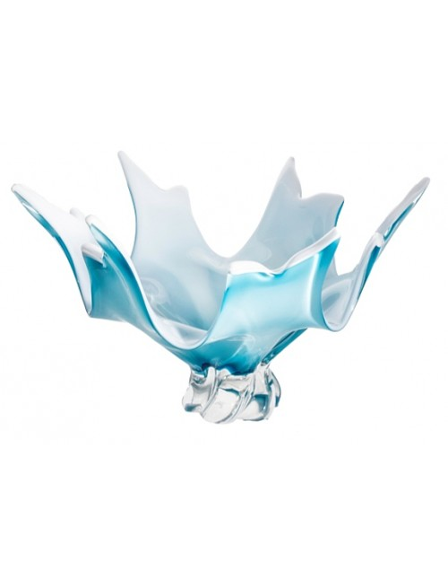 Blown glass bowl, color azure, diameter 380 mm