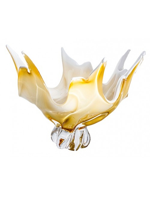 Blown glass bowl, color amber, diameter 380 mm