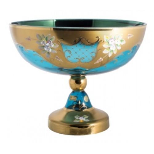 Footed bowl High Enamel, color azure, diameter 330 mm