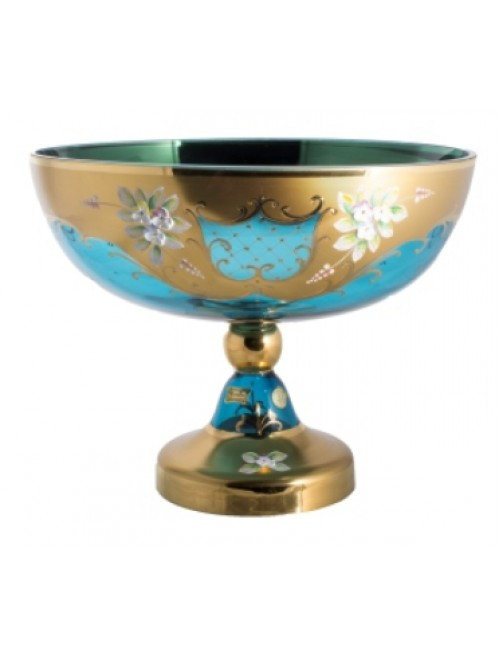 Footed bowl High Enamel, color azure, diameter 330 mm