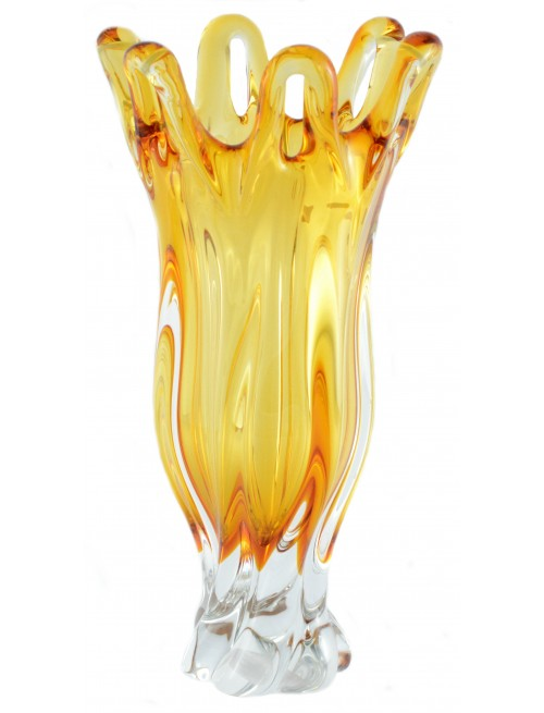 Blown Glass Vase, color amber, height 350 mm