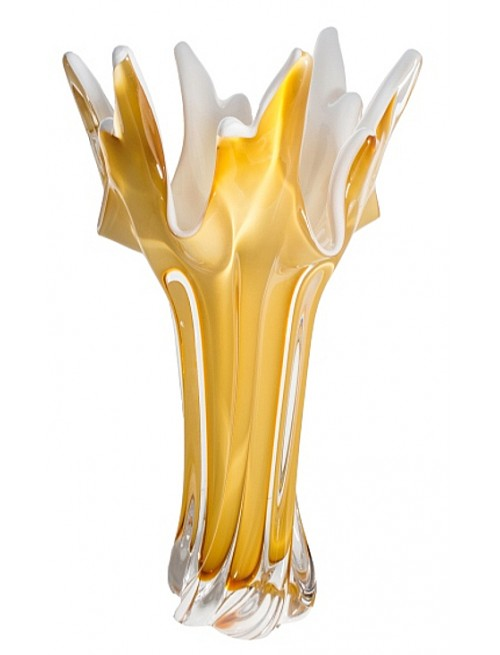 Blown Glass Vase, color amber, height 320 mm
