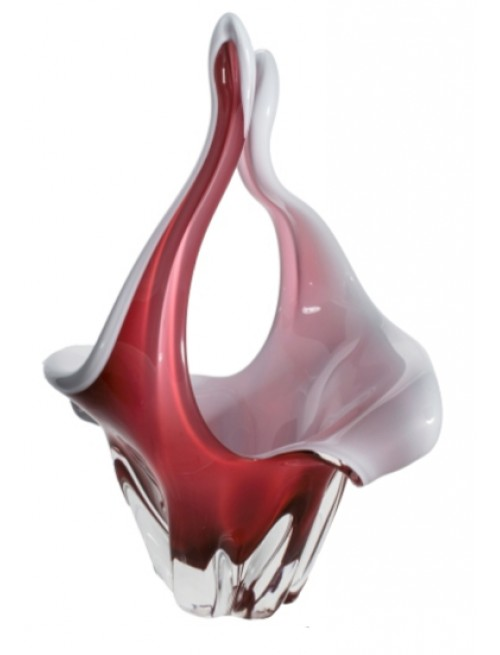 Blown glass basket, color ruby, height 350 mm