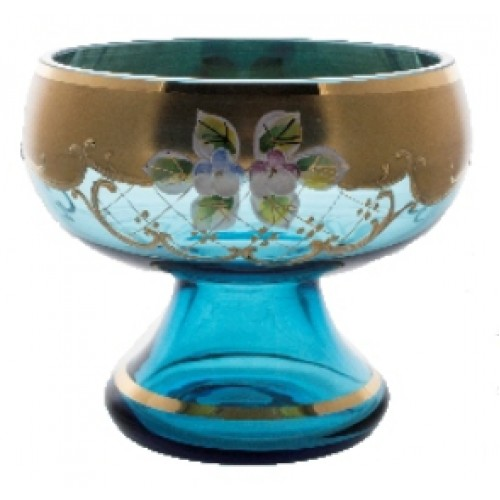 Footed bowl High Enamel, color azure, diameter 120 mm