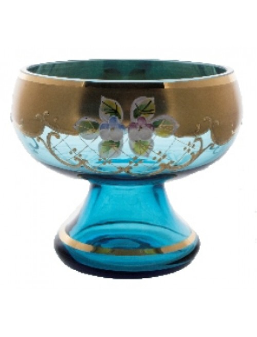 Footed bowl High Enamel, color azure, diameter 155 mm