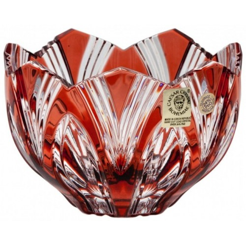 Crystal Bowl Lotus, color ruby, diameter 110 mm