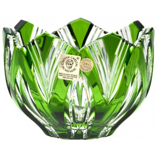 Crystal Bowl Lotus, color green, diameter 110 mm