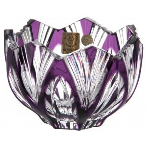 Crystal Bowl Lotus, color violet, diameter 110 mm