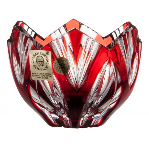 Crystal bowl Lotos, color ruby, diameter 85 mm