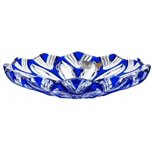 Crystal Plate Lotos, color blue, diameter 180 mm
