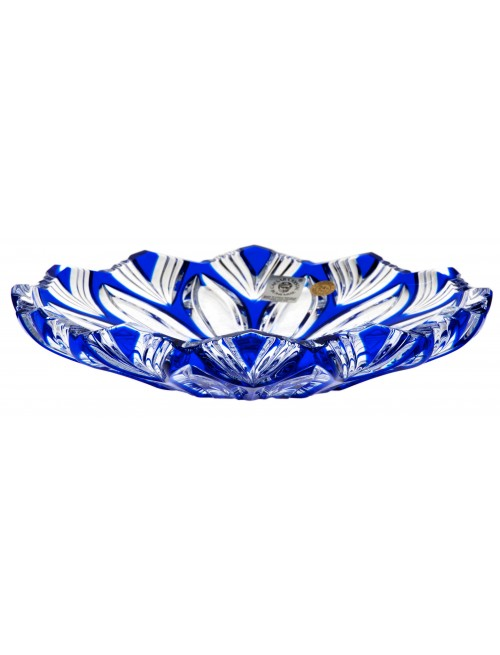 Crystal Plate Lotos, color blue, diameter 180 mm