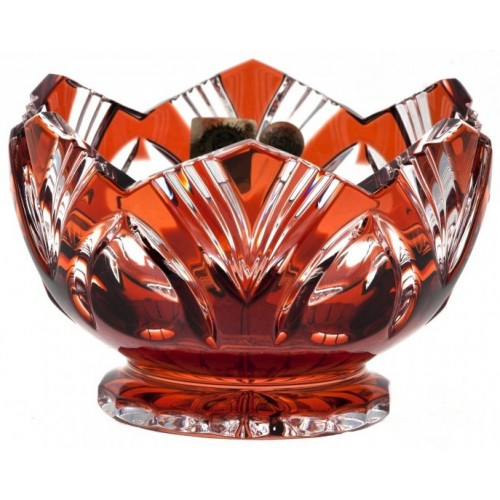 Crystal Bowl Lotus, color ruby, diameter 104 mm