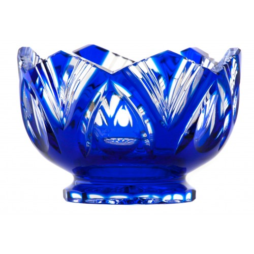 Crystal bowl Lotos, color blue, diameter 104 mm