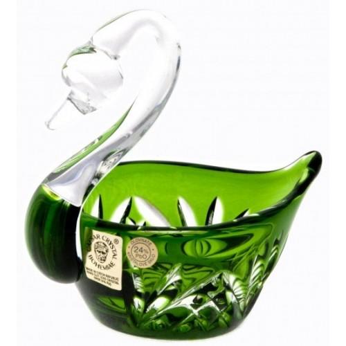 Crystal Swan Miniature, color green, diameter 100 mm