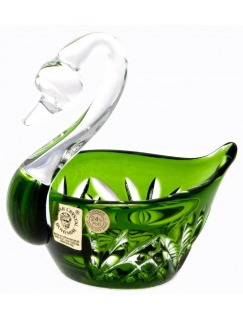 Crystal Swan Miniature, color green, diameter 100 mm